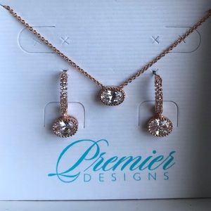Premier Designs Rose Bud Necklace and Earring Set